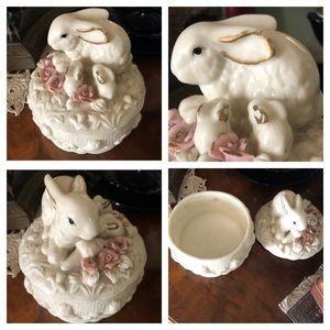 Vintage Porcelain Bunny Trinket Container